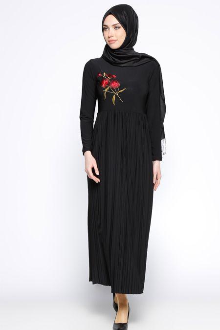 Beha Tesettür Siyah Nakışlı Elbise 59.90 TL  http://alisveris.yesiltopuklar.com/beha-tesettur-siyah-nakisli-elbise.html