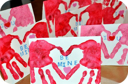 Valentine Handprint Cards: Made these for the Grandparents. Fun.