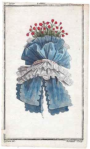 Magasin des Modes Nouvelles 1787 cahier n°36, plate n°3, Defraine, Hat