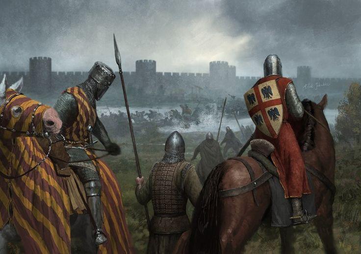 Esta es de las Cruzadas Albigenses. Gautier II (izquierda) y Bouchard I (derecha) observan como la vanguardia cruzada pasa a duras penas un río a las afueras de Avignon, que estaba siendo asediada. Más en www.elgrancapitan.org/foro