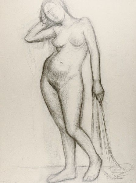 Roman OPAŁKA (ur. 1931)  Akt, 1953 węgiel, papier, 125 x 97 cm; sygn. p. d.: ... 1953