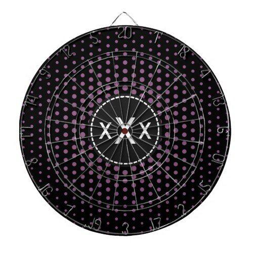 Monogram Antique fuchsia Techno Dots Modern Dartboard With Darts