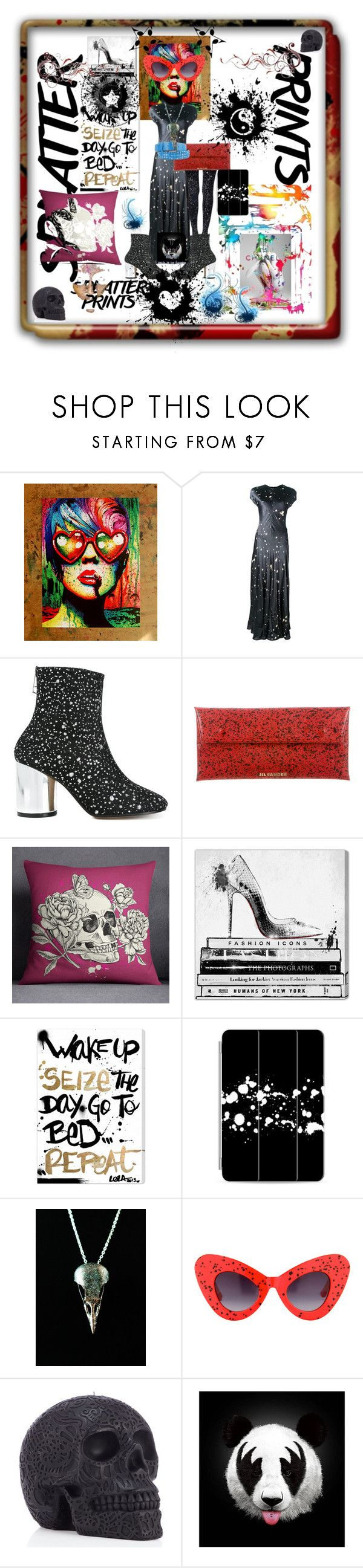 """Splatter ⚛️ Madness ⚛️Diva"" by maijah ❤ liked on Polyvore featuring Chanel, Alexander Wang, Maison Margiela, Jil Sander, Oliver Gal Artist Co., Casetify, Jeremy Scott, Monde Mosaic, splatter and Spring2017"