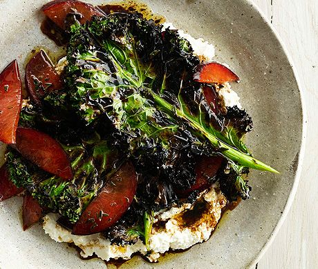 Grilled Kale Salad with Ricotta and Plums Recipe  at Epicurious.com