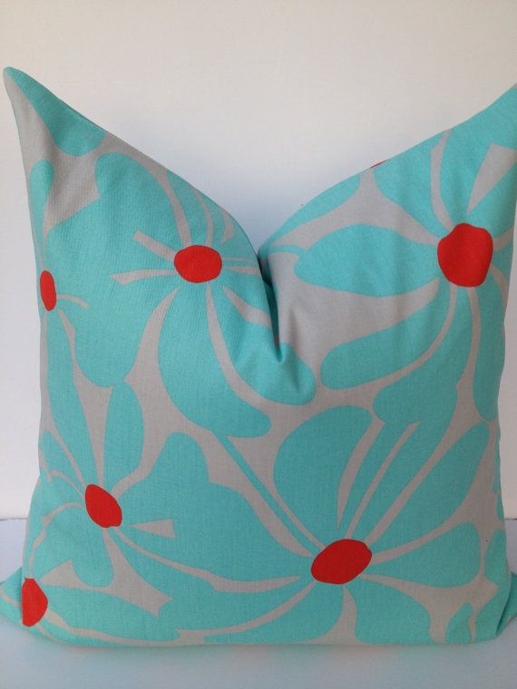Floral 20X20 Home Decor Pillow Cover Red Turquoise Toss