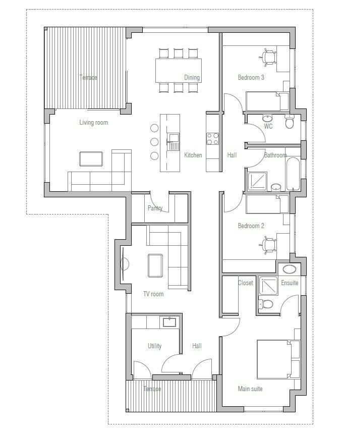 Casa moderna de 3 quartos s