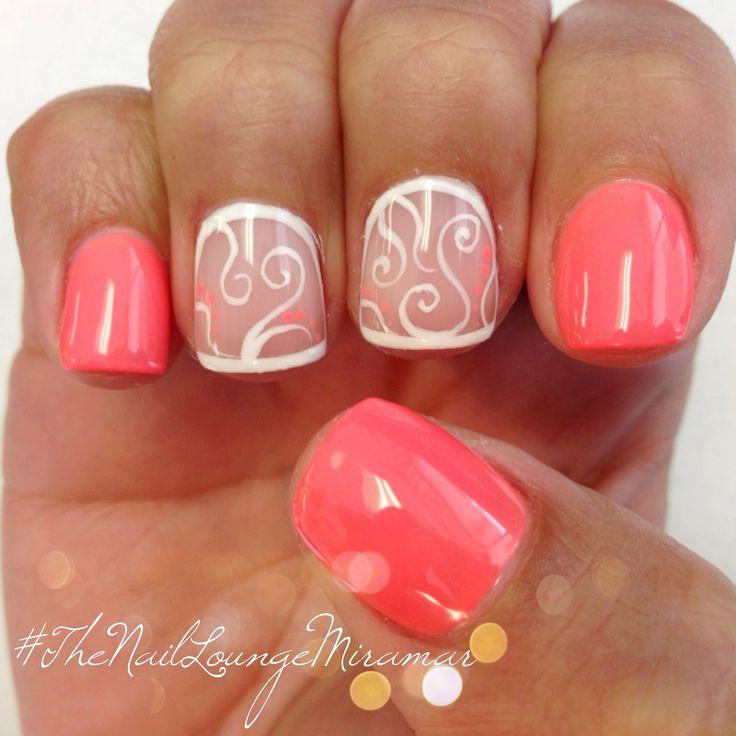 Coral gel nail art