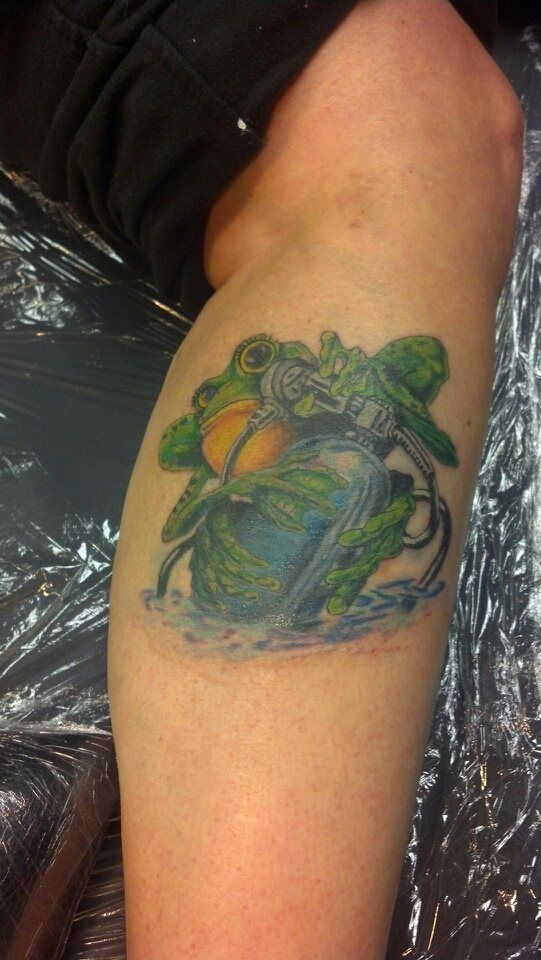 this is a frog scuba tattoo