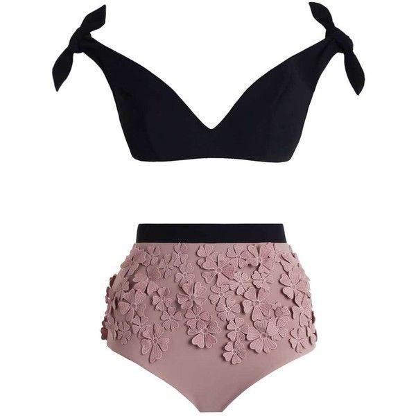 ZIMMERMANN Winsome Posy Bikini ($740) ❤ liked on Polyvore featuring swimwear, bikinis, padded bikinis, bikini tops, bow bikini, floral bikini and tie bikini top