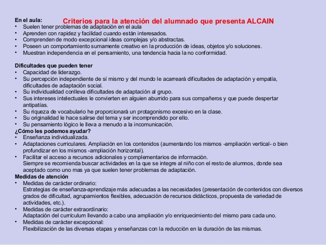 Criterios Para La Atencion Del Alumnado Que Presenta Alcainen El