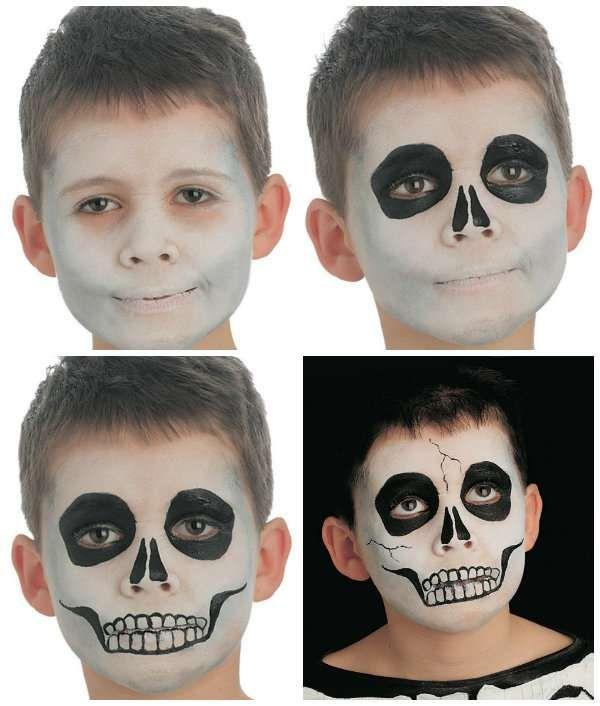 Maquillage tête de mort pour Halloween. 18 idées de maquillages rigolos pour enfants