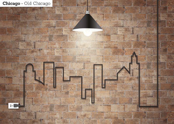 Korista keittiön seinää vanhan tiiliseinän tunnelmall. Kuvan laatta: ICI Chicago Old Chicago 10x20 cm.