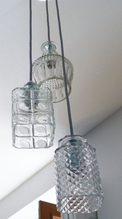 Decanter cealing light, upcycled lamp, decanter suspension light, decanter pendant light