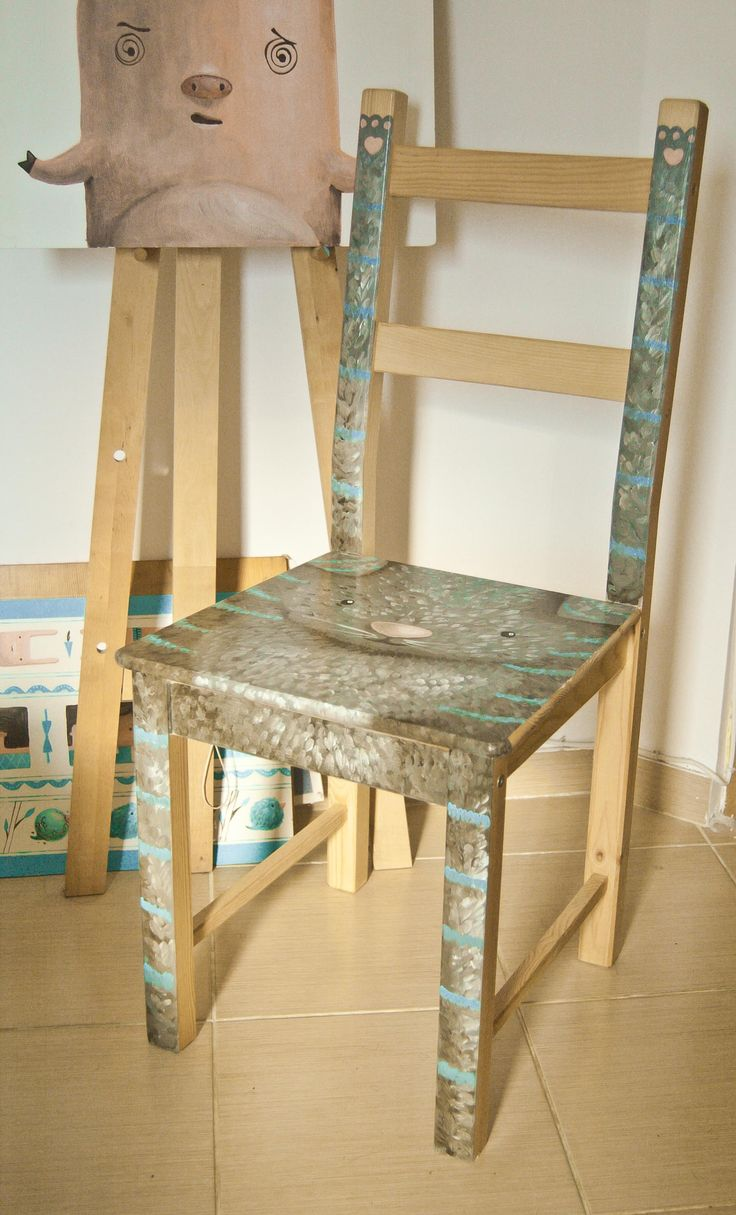hand painted wooden chair