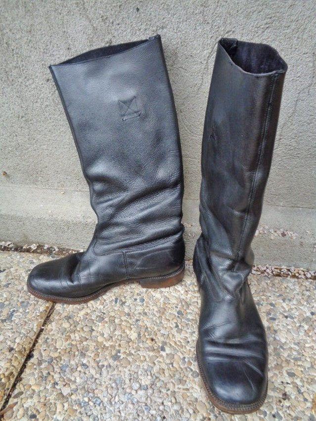 Bottes de motard,Bottes cavalières  cuir vintage/ Taille 42 /Bottes cuir Homme/Men Leather boots de la boutique FrenchTouchSoChic sur Etsy