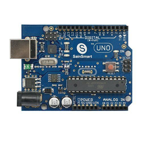 SainSmart UNO, ATmega328P *USB CABLE Included* for Arduino by SainSmart. $17.99. The SainSmart Arduino Uno is a microcontroller board based on the ATmega328. It  has 14 digital input/output pins (of which 6 can be used as PWM outputs), 6  analog inputs, a 16 MHz crystal oscillator, a USB connection, a power jack, an  ICSP header, and a reset button. It contains everything needed to support the  microcontroller; simply connect it to a computer with a USB cable or power it  wi...