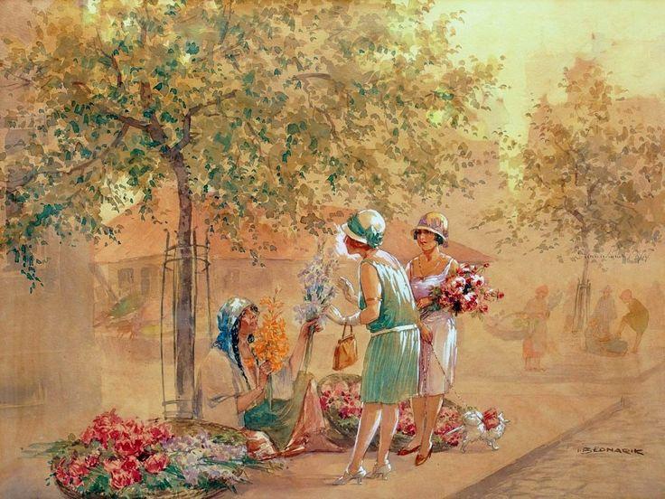 Bednarik, Ignat (b,1882)- Sidewalk Flower Selller