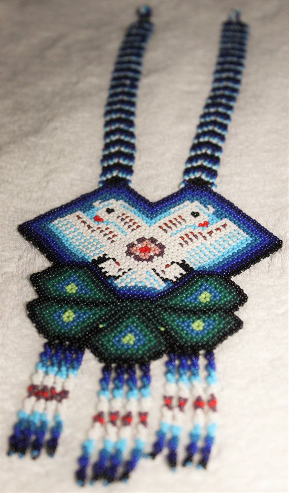 FREE Shipping to the United States  Length 16.5 Inches  Width 4.5 Inches wing to wing    Huichol are an indigenous, Indian, ethnic group of western central Mexico, living in the Sierra Madre Occidental range in the Mexican states of Nayarit, Jalisco, Zacatecas, and Durango. The beaded art is a relatively new innovation and is constructed using glass, plastic or metal beads. Common bead art forms include masks, bowls and figurines. Like all Huichol art, the bead work depicts the prominent…