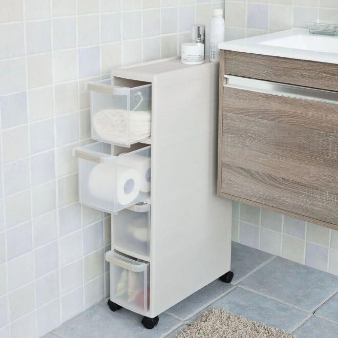 20 Small Bathrooms With Creative Storage Ideas In 2020 Slim Bathroom Storage Bathroom Organisation Bathroom Storage Units