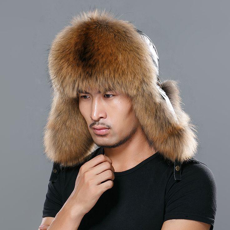 Star Fur 2016 Genuine Fox Fur Hats Men Real Raccoon Fur Lei Feng Caps Russian Winter Men Bomber Hats with Genuine Leather Tops