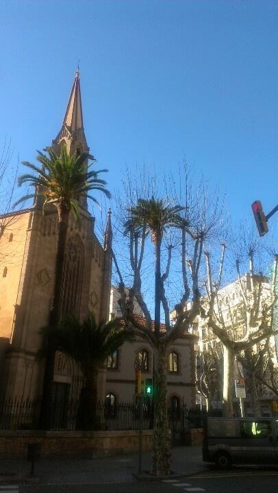 Magical blue winter sky in Barcelona