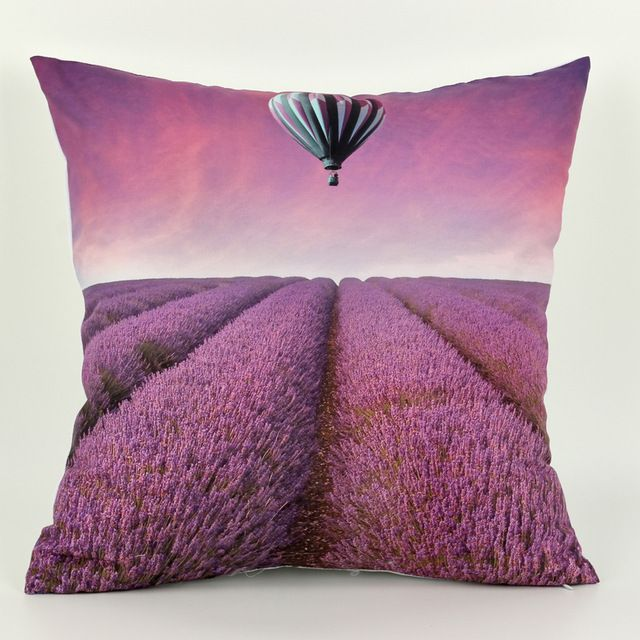 45 *45cm Decorative Throw Pillows Purple Cushion Cover Lavender housse de coussin 3D 1 Side Printing Cushions Home Decor Covers