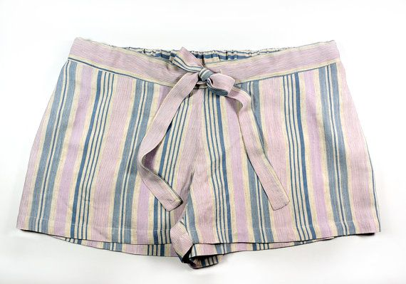 Silk shorts sleep boxer shorts in striped raw silk by Svilac