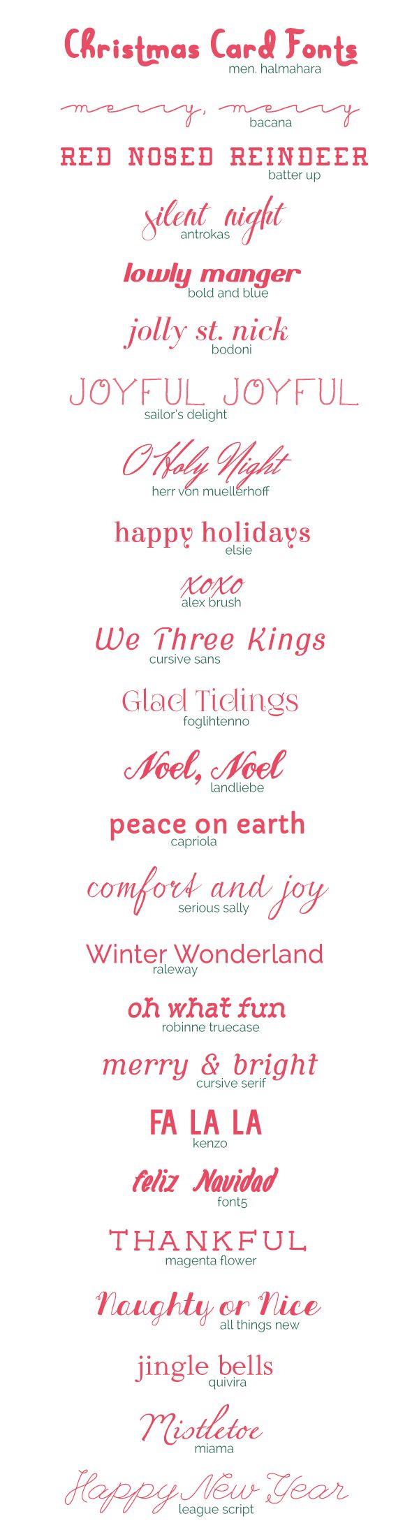Freebie| 25 Christmas Card Fonts