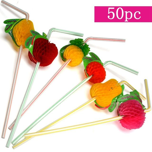3D Fruit Cocktail Drinking Straws(Pineapple, Strawberry, Lemon,Pear,Orange) for Tropical Party Pool Party Hawaiian Party Decor