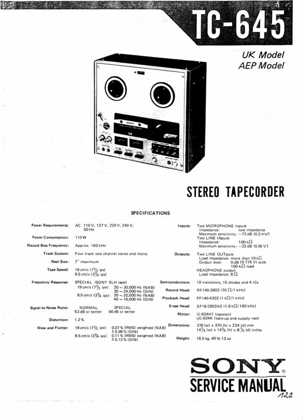 Sony TC-645 reel to reel tape recorder Service Manual 100 per cent satisfaction guaranteed  100 DOWNLOAD