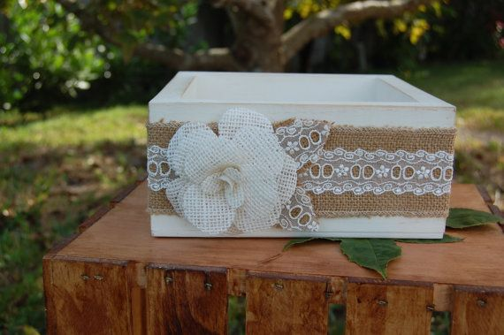 Rustic Chic Centerpiece Box/Shabby Chic Advice Box/Rustic Favor Box with Burlap Flower/Rustic Centerpiece/Rustic Wedding Decor/Barn Wedding on Etsy, $29.95