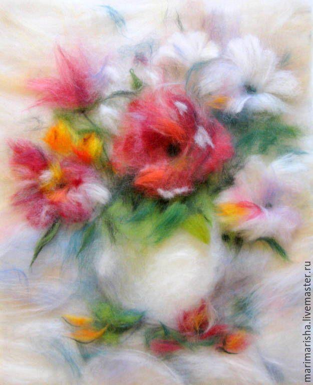 Купить Картина из шерсти Букет Летнее настроение - разноцветный, картина из шерсти, картина с цветами