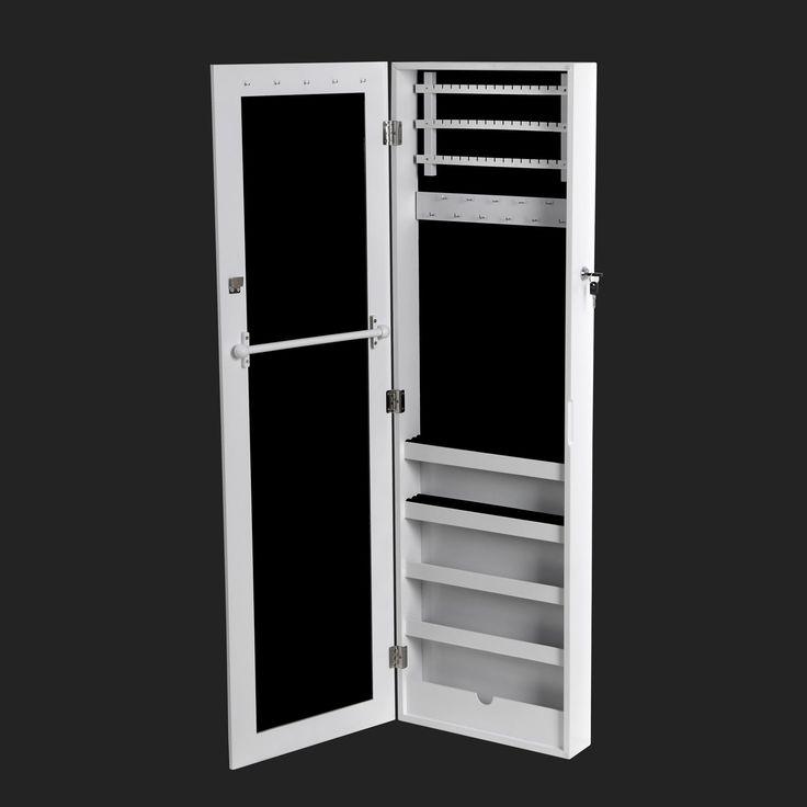 songmics 120 x 36 x 9 5 cm armoire bijoux armoire murale rangement avec miroir et cl s blanc. Black Bedroom Furniture Sets. Home Design Ideas