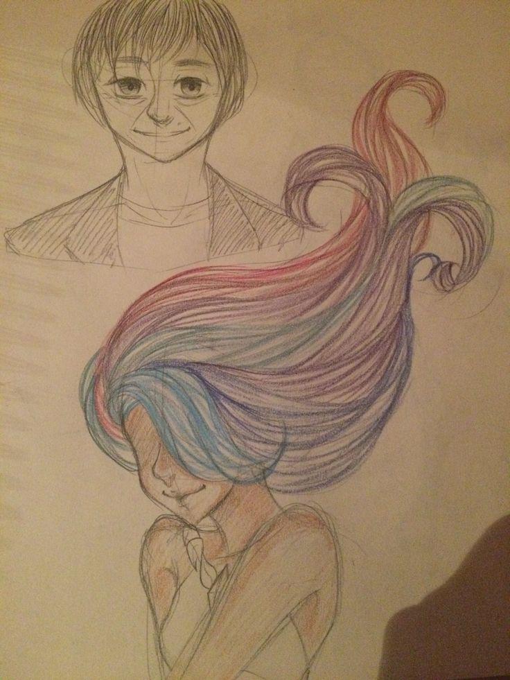 Voorstudie Satoshi Tajiri (maker van Pokemon) en meisje met kleurrijk haar