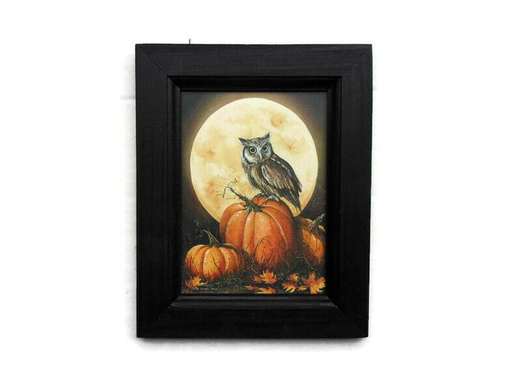 The Pumpkin Patch, Owl, Halloween, Full Moon, Wall Decor