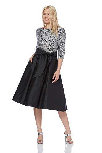 499e71c6396d0b Roman Originals Women Floral Lace 3/4 Length Sleeve Top Fit and Flare  Skater Dress