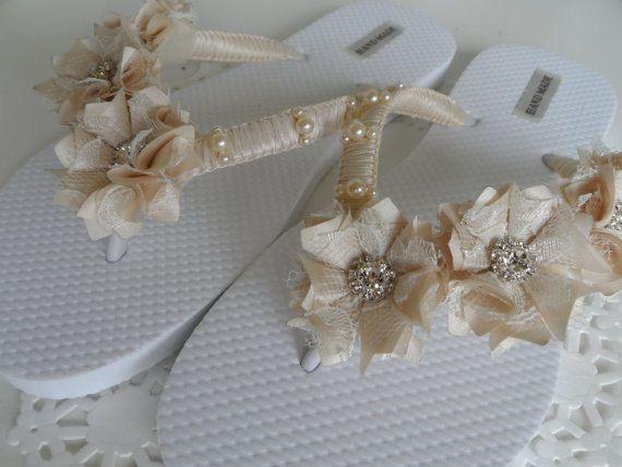 Marfil flip-flops nupciales boda marfil Flip Flops / chanclas
