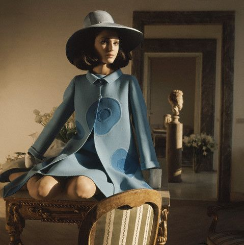 Model in Blue Coat at Cy Twombly's Apartment