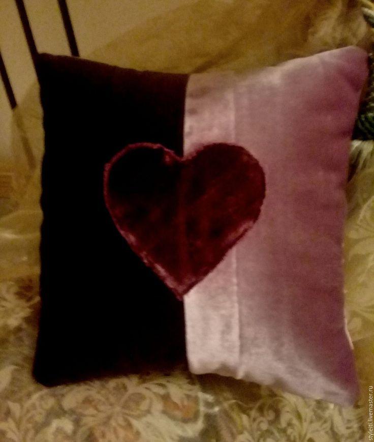 Купить Подушка - бледно-розовый, фиолетовый, валентинка, подушка декоративная, подушка на диван, подушка в подарок