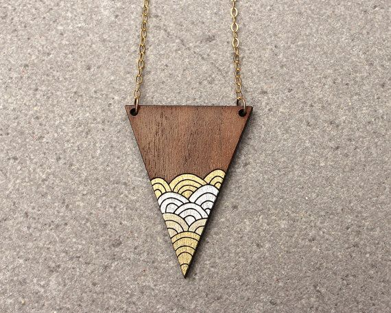 Illustrated necklace. Laser cut wood. Geometric necklace. Minimalist jewelry. Modern necklace, triangle design, layering necklace. Our Triangle Waves