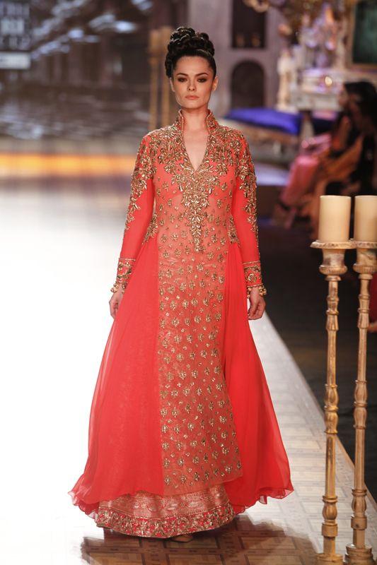 Lovely Red-orange Bridal dress by Manish Malhotra