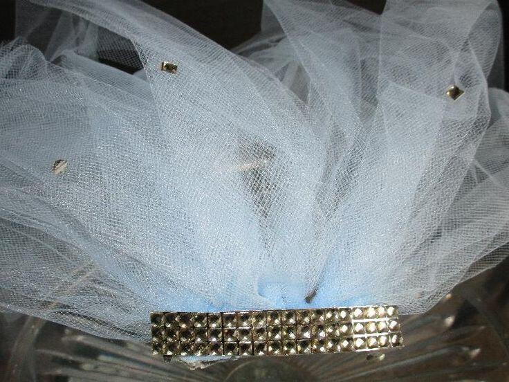 bachelorette veil, bachelorette party veil, bachlorette accent veil, pale blue veil,silver bling bridal party veil, hen party veil , veil by SuspendedStar on Etsy
