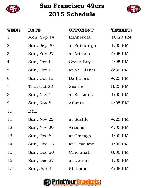 Printable San Francisco 49ers Schedule - 2015 Football Season