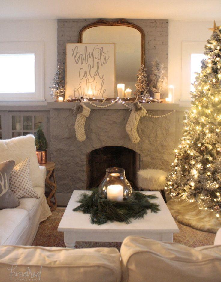 Image Result For Elegant Christmas Decor Coffee Table Elegant Christmas Decor Christmas Decorations For The Home Christmas Fireplace Decor