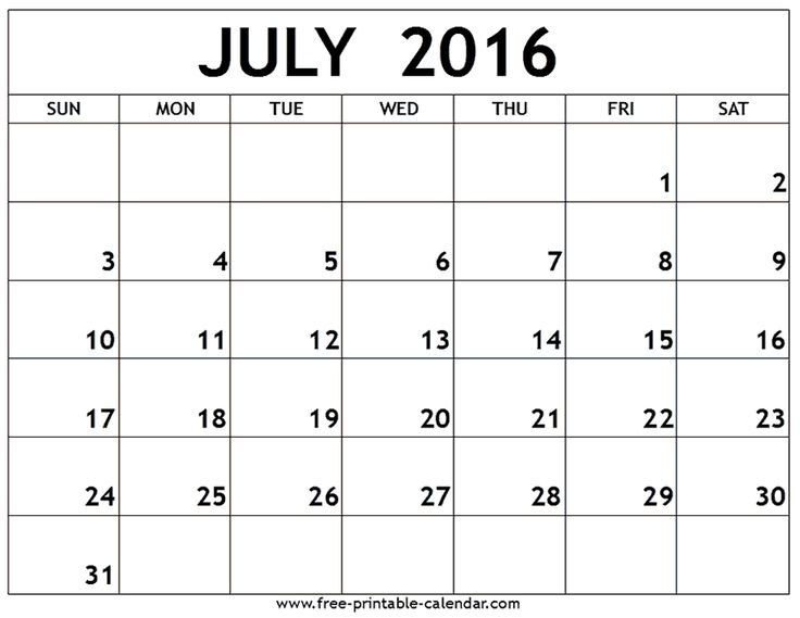 Mer enn 25 bra ideer om July 2016 calendar template på Pinterest - printable monthly calendar sample