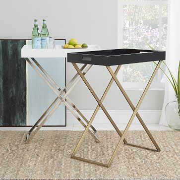 Great side table or bar cart alternative, especially for a small space - Tall Butler Tray Stand #westelm