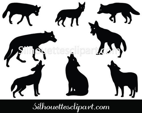 Coyote Silhouette Vector Graphics Pack | Coat of Arms ...
