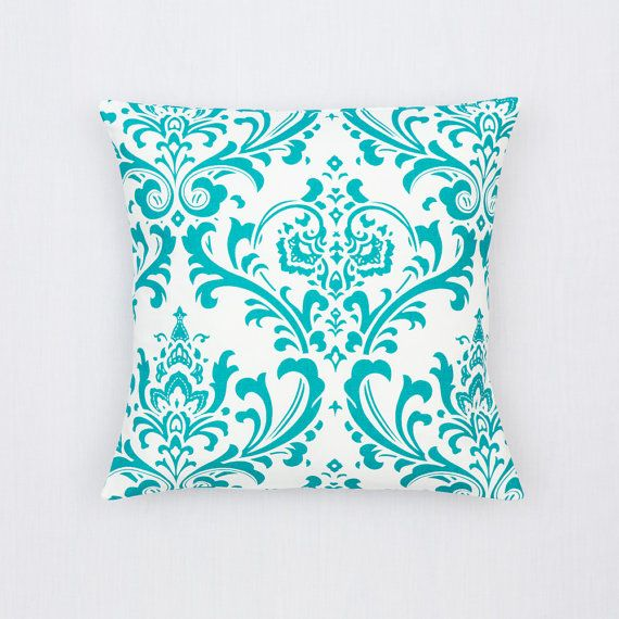 TEAL Pillow Cover.Decorator Pillow Cover.Home Decor.Large Print.DAMASK.Slipcover. Cushion.Pillow. Premier Prints
