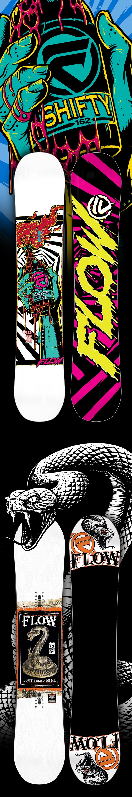 Flow Snowboards Branding & Board Graphics by SoupGraphix Inc. , via Behance