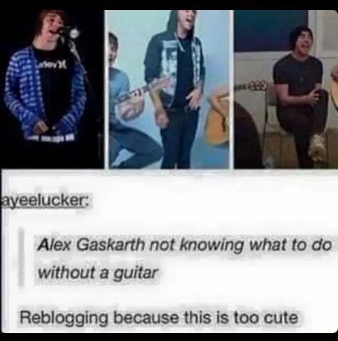 THIS IS ME I DO THIS! I can't sing without looking like an utter idiot if I don't have a guitar, bass or piano